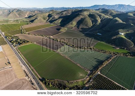 Aerial view of Santa Rosa Valley farm fields and citrus groves in scenic Ventura County, California.