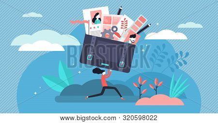 Portfolio Vector Illustration. Flat Tiny Job Preview Folder Presentation Persons Concept. Briefcase