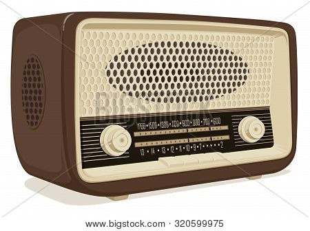 Realistic Vector Image Of An Old Radio Receiver Of The Last Century In Retro Style. Isometric Illust