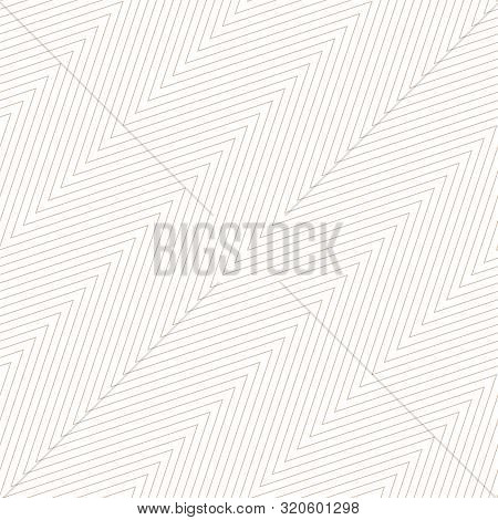 Subtle Zigzag Seamless Pattern. Vector Texture With Thin Diagonal Zig Zag Lines, Stripes, Chevron. W