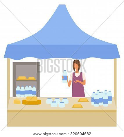 Milk And Cheese Production At Store Vector, Isolated Character Working As Salesperson. Marketplace W