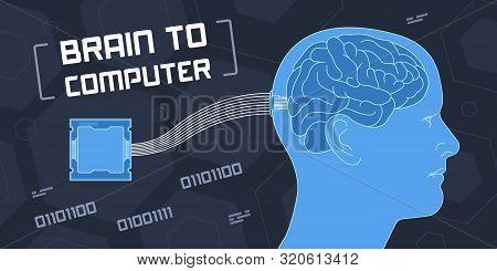 Flat Vector Illustration Of Brain To Computer