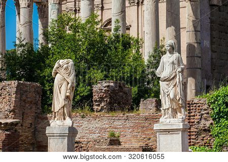 Ancient Ruins Of The House Of The Vestal Virgins At The Roman Forum In Rome