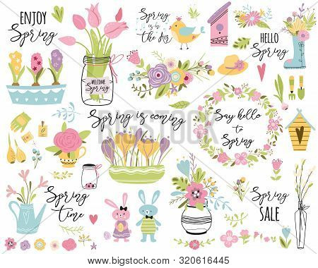 Spring Set Hand Drawn Elements Flowers Bird Wreaths Rabbit Here Easter Cute Vector Illustration Typo
