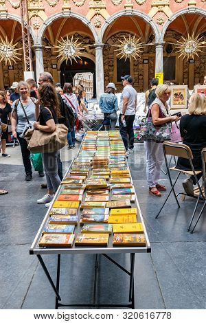 Lille,france-september 01,2019: Vieille Bourse (old Stock Exchange) Market For Books And Posters Use