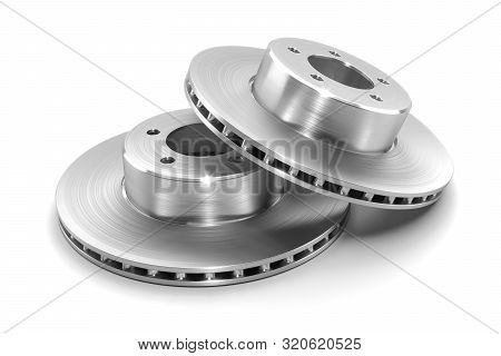Two New Braking Discs Of Car Isolated On White Background. 3d Render