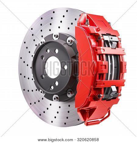 Car Brakes Mechanism. Disk And Red Caliper. 3d Render