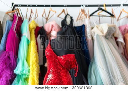 Many Ladies Evening Gown Long Dresses On Hanger In The Dress Rent Shop For The Wedding Day Or Photo