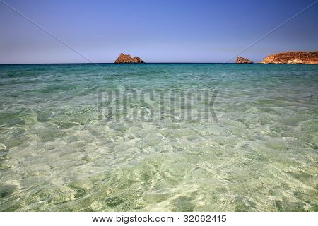 remote beach of kerokampos in the south of crete, lybian sea, greece