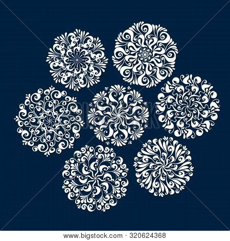 Assorted Snowflake Winter Set For Xmas And Ny Projects. Christmas Classic White Lise Style Snow Elem