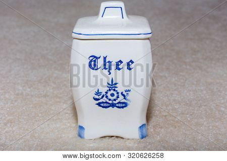 Delft Blue Tea (thee) Container. Famous Porcelain Souvenirs From Holland/netherlands. Isolated On Te