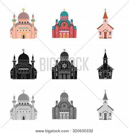Isolated Object Of Cult And Temple Logo. Set Of Cult And Parish Stock Vector Illustration.