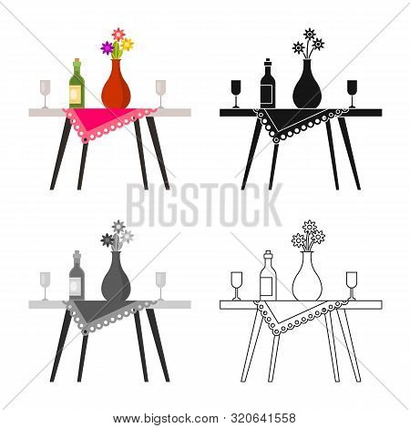 Vector Design Of Table And Vase Symbol. Set Of Table And Diner Vector Icon For Stock.