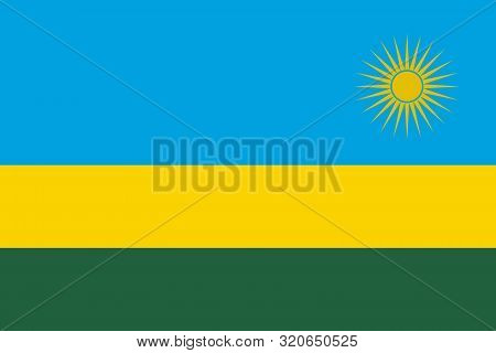 Flag Of Rwanda Vector Illustration, Worlds Flags Collection