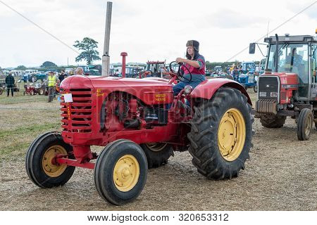 Haselbury Plucknett.somerset.united Kingdom.august 18th 2019.vintage Tractors Are Being Shown At A Y