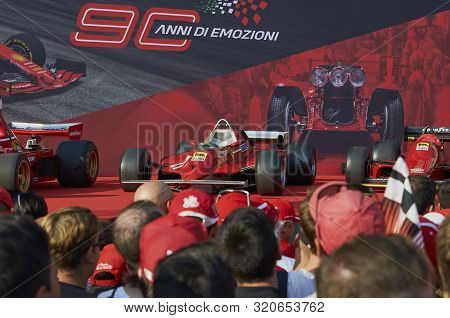 Milan, Italy - September 4th 2019: Ferrari Racing Formula One 90th Anniversary, Duomo Square. Gilles
