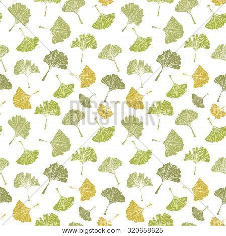 Ginkgo Biloba Leaf Tablecloth Seamless Pattern. Silhouette Of Ginkgo Leaves With White Veinlets. Iso