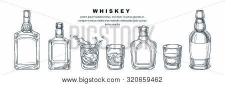 Whiskey Bottles And Glass With Beverage And Ice, Vector Sketch Illustration. Scotch, Brandy Or Liquo