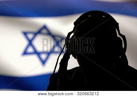 Secret Agent Eavesdropping On Conversation, Spy And Scout, The Israeli Flag, Backlight