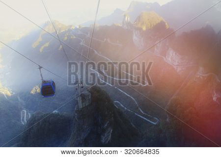 Morning Light And Colorful Of Longest Cable Car In The World Call As Tianmen Shan, Zhang Jia Jie, Hu