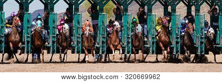 Large Field Of Horses Leaving The Starting Gate At Arizona Downs In Prescott Valley, Arizona On Sept