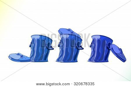 Realistic Cartoon Blue Garbage Bin, Set. Metal Trash Bins Isolated On White Background. Motley Dustb