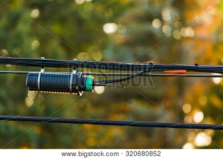 Hanging From Power Lines A Fiber Optic Termination Splice Point