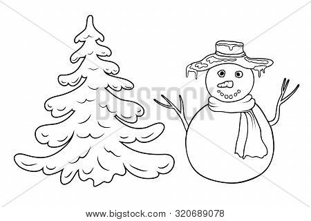 Cute Cartoon Coloring Snowman And Fir Tree Outline Silhouette Isolated On White. Coloring Page With