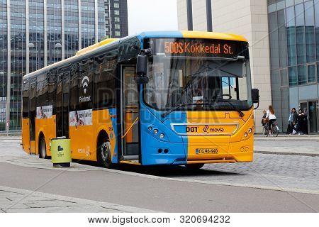 Copenhagen, Denmark - September 4, 2019: One Yellow Bus At The Metro Station Orestad In Service For