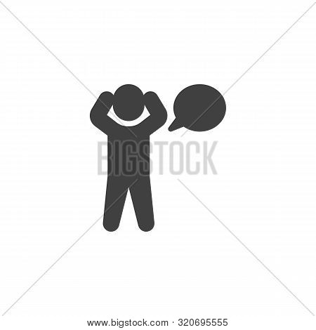 Man Monologue Vector Icon. Human Thinking Filled Flat Sign For Mobile Concept And Web Design. Man An