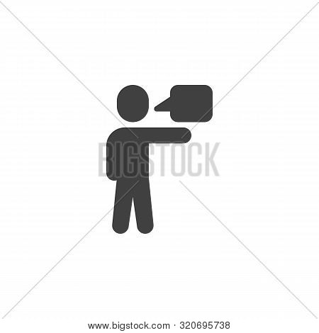 Talking Man Vector Icon. Filled Flat Sign For Mobile Concept And Web Design. Man And Speech Bubble G