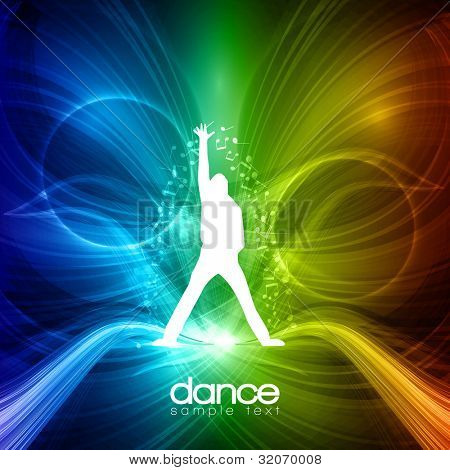 EPS10 Party People Vector Background - Dancing Young Men poster