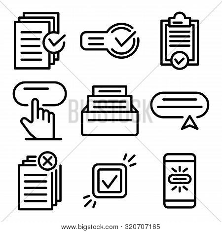Request Icons Set. Outline Set Of Request Vector Icons For Web Design Isolated On White Background