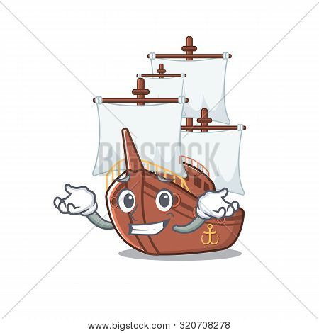Grinning Miniature Pirate Ship Cartoon On Table