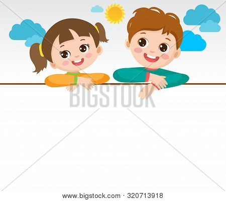 Cute Kids Holding White Blank Board Vector Illustration. Cute Boy And Girl Hold Banner. Happy Childr
