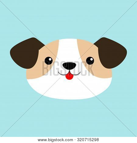 poster of Dog face head round icon. Cute cartoon kawaii funny baby character. White puppy pooch. Flat design style. Help homeless animal concept. Adopt me. Pet adoption. Blue background. Isolated. Vector