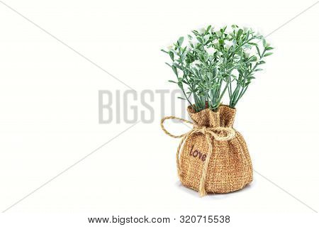 Vases Of Flowers, Artificial Lavender In Burlap With Isolated On White Background. Great To Use For