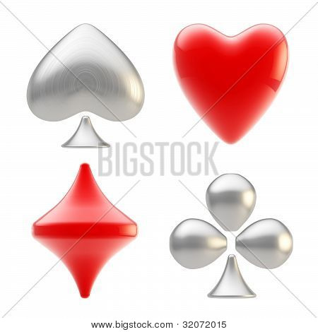 Set of four playing card suit signs