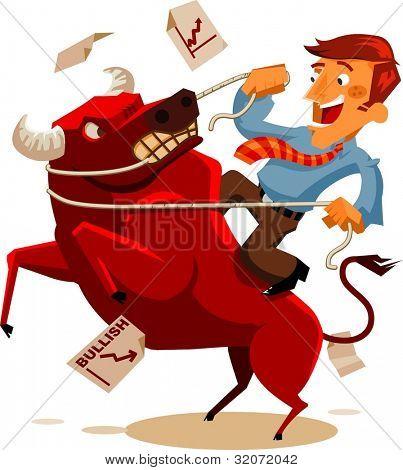 Deal with Bullish Market. Vector Illustration