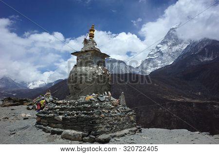Old buddhist stupa on the Everest trek near Dingboche village in Himalayas mountains, Sagarmatha national park, Solukhumbu, Nepal