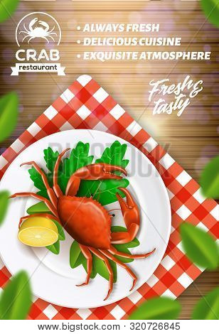 Seafood Restaurant Advertising Banner, Menu. Delicious Cuisine, Exquisite Atmosphere Cafe. Fresh And