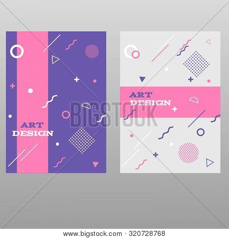 Vector Memphis Style Posters Geometric  Design Of Trendy  80S-90S Style Eps 10 Vector