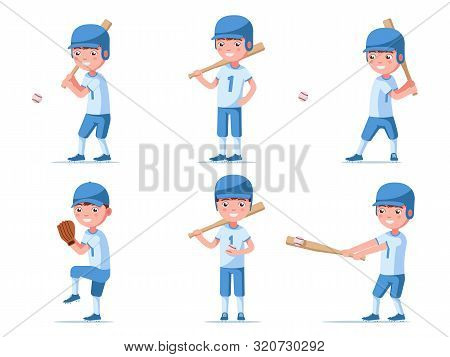 Set Of Boy Baseball Player In Sports Uniform. A Group Of A Small Child In Baseball Ammunition Plays