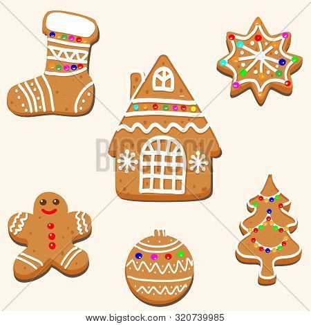 Vector Drawing Of A Christmas Card Design. Gingerbread House, Tree, Snowflakes, Gingerbread Cookies
