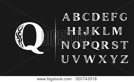 Elegant Gothic Font. Set Capital Letters With Tattoo Element. Vintage Alphabet In Retro Style Drawin