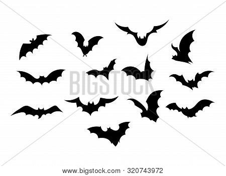 Set Bats. Collection Of Bats. Flying Bats. Halloween. Set Of Black Silhouettes. Cartoon Bats. Line A