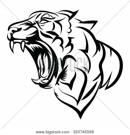 Tiger Logo. Black White Illustration Of A Tiger Head. Portrait Of A Predator. Tattoo Wild Cats.