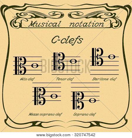 C-clefs. Alto Clef, Tenor Clef, Baritone Clef, Mezzo Soprano Clef And Soprano Clef. Vector.