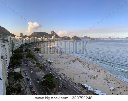 Copacabana, Brazil - June 15, 2019: Top View Of Copacabana Beach And Avenida Atlantic In Rio De Jane