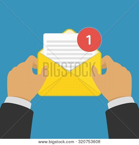 New Email Or Sms Message Incoming. Hand Holding Envelope, Letter. Mail Notification Or Coming Messag